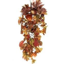 Autumn Harvest Artificial Leaves and Acorns Hanging Decorative Door Teardrop Swag