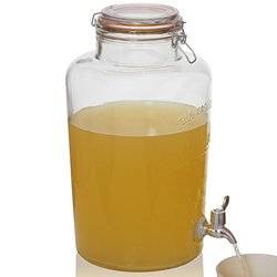 Brilliant - Mason Jar Round Glass Beverage Dispenser, 2 Gallons
