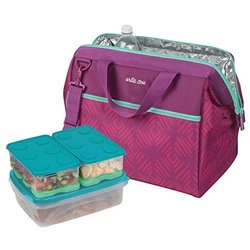 8 Piece Insulated Carrier Interlock Food Container Set - Magenta and Mint