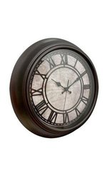 Westclox 32224 Plastic Analog Map Dial Wall Clock, Dark Brown