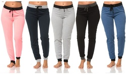 Coco Limon Women's 5-Pack Joggers - Coral/Navy/Grey/Black/Denim - Medium