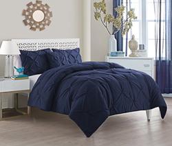 Victoria Classics 4-Piece Pintucked Comforter Set - Blue - Size: King