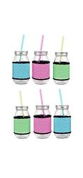 Set of 6 Clear Glass Mason Jars with Chevron Insulated Sleeves with Metal Lids & Plastic Straws
