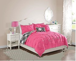 5 Pc, Pink, Pintucked Comforter Set, Full Size Bedding, by Karalai Bedding Collection