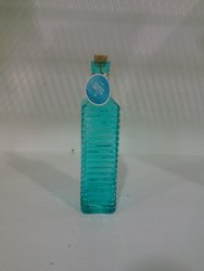 Horizon USA Water Bottle in Clear Glass with Cork - Blue