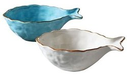 Creative Co-Op Waterside Dolomite Fish Bowl - Set Of 2 (XRL2331)