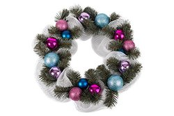 "Holiday Christmas Ornament Wreath - 19"" Blue and Pink"