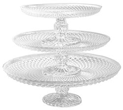 """Palais Glassware Elegent 3 in 1 Cupcake or Cake Stand - Mix and Match Use As a One Tier, Two Tier or Three Tier or As 3 Separate Cake Stands - 10"""" High X 12"""" Diameter (Diamond Design)"""