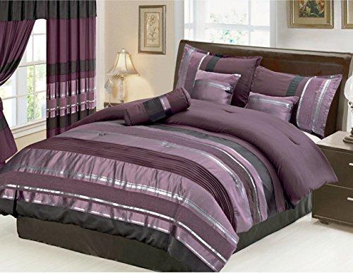 7 Piece Eggplant Comforter Set Purple Black Size California King Check Back Soon Blinq