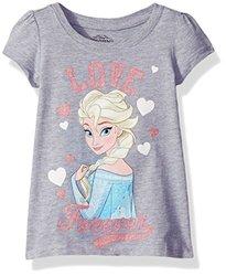 Frozen Toddler Girls Anna Elsa Short Sleeve Tee - Heather Gray - Size: 5T