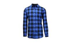 Galaxy By Harvic Men's Long Sleeve Plaid Shirt - BlacK/Royal - Size: Large
