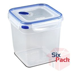 Sterilite 03334706 Ultra Seal 12.0 Cup Square Food Storage Container, Clear and T-Blue, Pack of 6