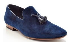 Henry Ferrera Slip-on Loafer Smoking Shoe with Tassels - Navy - Size: 11