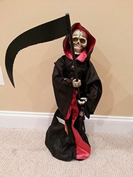 "28"" Animated Grim Reaper Halloween Figurine w/ Sound - Lights Up"