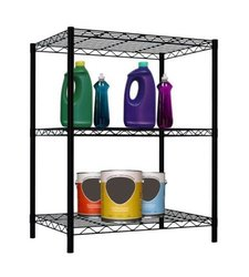 Home Basics Three Shelf Shelving Unit - Black