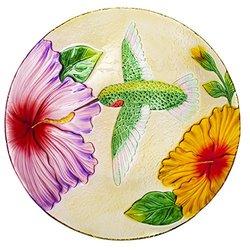 Evergreen Fluttering Hummingbird Glass Birdbath Bowl, 18 inches