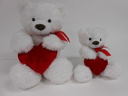 "Valentines Smitten 22"" Tummy Bear Plush Toy with Red Heart (1165L, Red Heart)"