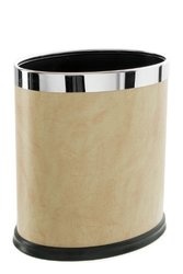 Brelso Super Quality Leatherette Trash Can, Office Garbage Can, Oval Shape (Beige)