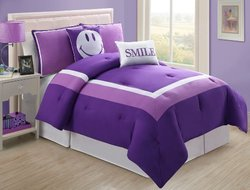 5 Pc Modern Purple and White Comforter Set, Full Size Bedding, bed in a bag, By Plush C Collection