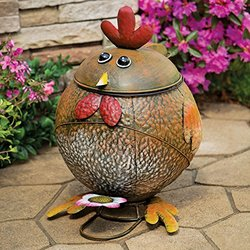 Bits and Pieces - Rooster Trash Can-Hand Painted Functional Metal Sculpture - Waste Basket Great Decorative Accent