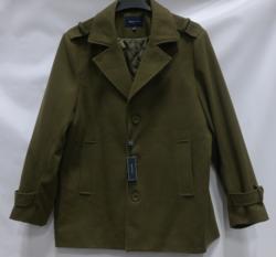 Braveman Men's Single Breasted Wool Blend Coats - Olive - Size: Medium