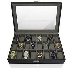 GGI INTERNATIONAL 24 Watches Large Box Black Leather Display Glass Top Jewelry Case Organizer