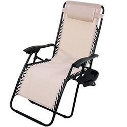 Sunnydaze Beige Oversized Zero Gravity Lounge Chair with Pillow and Cup Holder