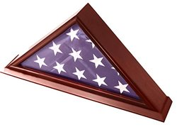 DecoMil Funeral Veteran Flag Elegant Display Case - Cherry (5x9FLGCHR)
