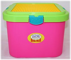 Matty's Toy Stop Brik-Box Storage Container with Building Plate and Removable Lid - Brite
