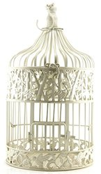 Metal Hanging Standing Bird Cage, Antique Cream White, Round (Large 10x22)