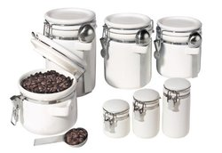 Ceramic Canister 7-pc. Set - White