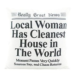 Enesco Really Great News by Lorrie Veasey Local Woman Cleans House Pillow
