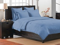 Damask Luxe Collection Stripe Comforter Set - Blue - Size: Queen
