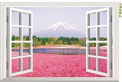 Amaonm 3d Huge Pink Flowers, Mountain Natural Scenery Wall Decals Fake Windows Landscape Environmental Protection Removable Wall Decals Window View Wall Art Wallpaper Mural Wall Sticker Peel & Stick