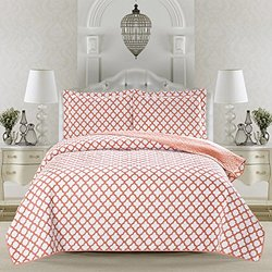 Madison Collection 3-Piece Printed Quilt Set with Shams. Super Soft Microfiber Bedding with Geometric Design. By Home Fashion Designs. (Twin, Coral)