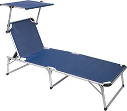Simply Sports Adjustable Beach and Patio Lounge Chair with Sun Shade, Blue