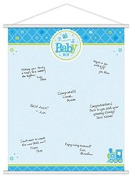 """Amscan Charming Welcome Little One Boy Sign in Sheet Baby Shower Party Supplies, 24 x 19"""", Blue/White/Green"""