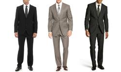 Umberto Bonelli Men's 2 Piece 2 Button Classic Fit Suit: Black-44lx38w