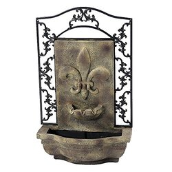 """Sunnydaze Decor 33"""" French Lily Florentine Stone Outdoor Wall Fountain"""
