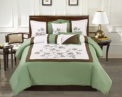Grand Linen Modern Olivia Comforter Set - Sage Green - Size: Queen
