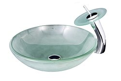 Bathroom Designer Round Frosted Glass Vessel with Matching Plate