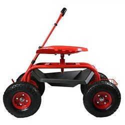Sunnydaze Red Rolling Garden Cart with Extendable Steering Handle