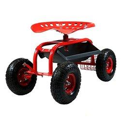 Sunnydaze Red Rolling Garden Cart with Steering Handle