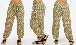 Juniors' Printed Harem Pants - Yellow - Size: Large