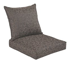Bossima Indoor/Outdoor Black/Gold Damask Deep Seat Chair Cushion Set