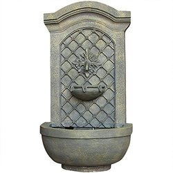 Sunnydaze Rosette Leaf Outdoor Wall Fountain French Limestone Finish