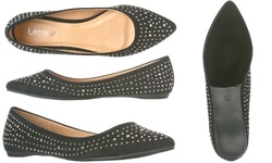 Lasonia Women's Studded Pointed Toe Flats - Black - Size: 10