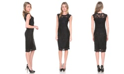 Women's Lace-overlay Cocktail Dress - Black - Small