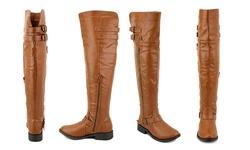 Olivia Miller Women's Over The Knee Buckle Boots - Cognac - Size: 11
