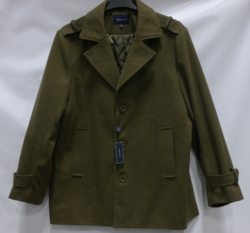 Braveman Men's Single Breasted Wool Blend Coats - Olive - Size: L